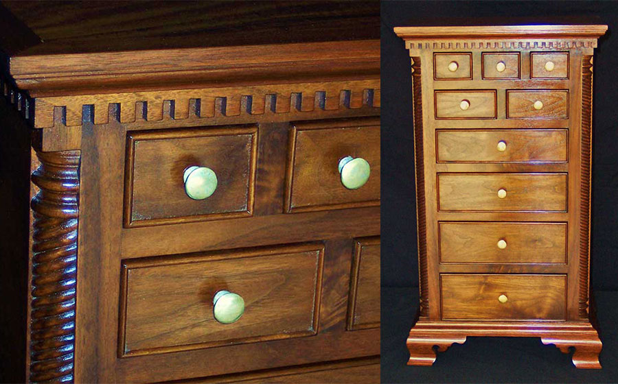 Mini Chest, walnut. Standing at about 30 inches tall this reproduction piece took the fancy of a client who loves all things 18th century.