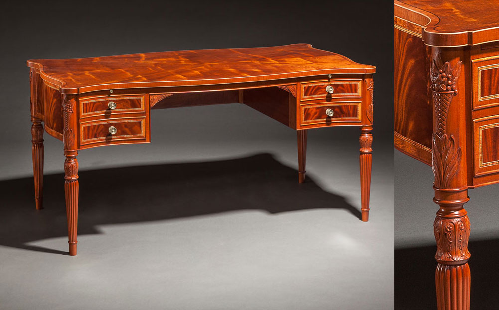 Sheraton Style Desk, mahogany. Custom built and designed for the clients needs and taste, this piece incorporates elements of the Sheraton style.