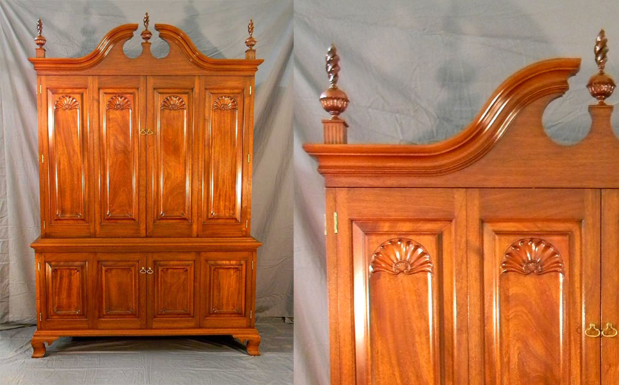 Period Entertainment cabinet, mahogany. This cabinet includes elements of the Queen Anne period and was especially designed for both its intended purpose and to match the many classic pieces I built for this client.