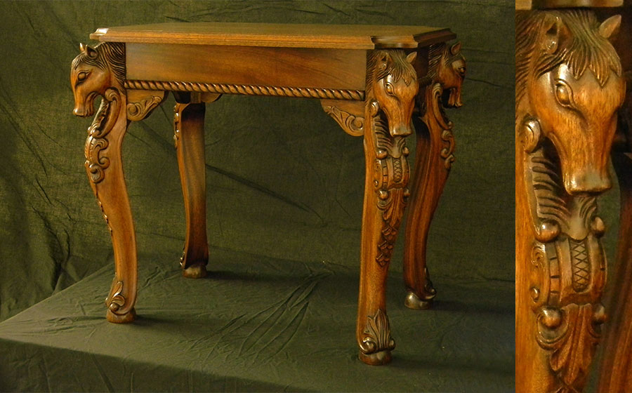 Horse Table, mahogany. Inspired by a South American piece and created for a horse lover and her family, this project included twin side tables (pictured above) and a coffee table.